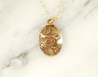 Sparrow Necklace - Bronze Bird Necklace with Gold Fill Chain
