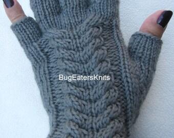 Slate Gray Fingerless Gloves, Cabled Gloves, Hand Knit Fingerless Gloves