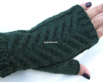 Dark Green Fingerless Gloves, Cabled Gloves, Women's Fingerless Gloves, Men's Fingerless Gloves