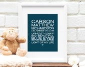Personalized Baby Story, Nursery Art, New Parents Gift for Friend, Family Addresses, Family Rules Art, Baby Stats - 8x10 Art Print