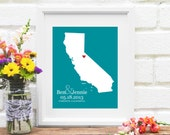 California State Map, Personalized California Wedding Gift, Guest Book, Anniversary Gift, Bridal Shower, Wedding Map - 8x10 Art Print