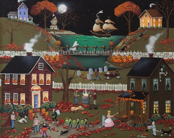 Pirate's Cove Halloween Folk Art Painting by Catherine Holman