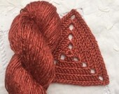 Hand Dyed Worsted weight Silk Yarn - Russet Red
