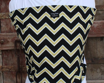 Ready To Ship-ORGANIC COTTON Baby Wrap Sling Carrier -Gold/Black Chevron On White-Newborn to Toddler Carrie-DvD Included