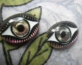 Vitrail Wide Eye 18X13mm Oval Glass Cabochons 2 Pcs