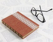 Medium Size Coptic Bound Notebook with Rust Red Linen and Vintage Lace
