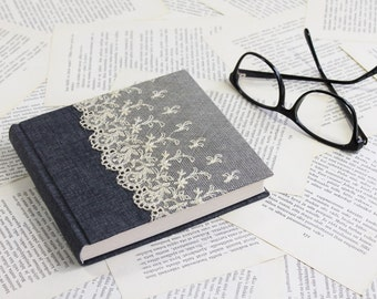 Medium Size Blue-grey Linen Journal with Vintage Lace