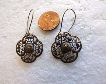 Fancy Brass Art Deco  Earrings
