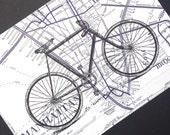 Bicycle Print on Manhattan Street Map - Bike Print - New York City Map - Lower Manhattan Map - New York Bike Print