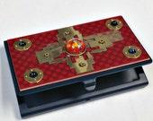 Geek Black Metal CARD HOLDER Recycled Circuit Board Paperweight