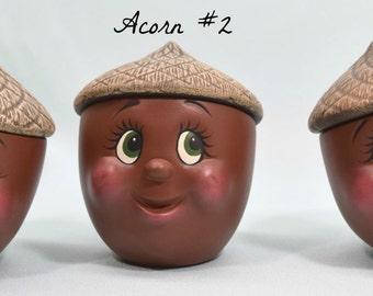 Ceramic candy dish - Fall decor - Acorn face dish - Ceramic trinket box - Autumn decor - cute acorn face - smiling acorn - acorn with lid