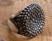 Statement ring, casual ring, boho ring, Chunky silver ring, dotted silver ring, cocktail ring, big silver ring, Unique band - Runaway R2313