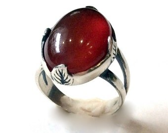 Carnelian stone ring, leaf ring, Oval gemstone ring, sterling silver ring, gypsy statement ring, hippie cocktail ring - Four leaves R2056
