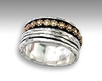 flower ring, Silver gold band, gypsy ring, wide ring, silver ring, spinning ring, two tone ring, fidget ring - You'll be in my heart R1738AG