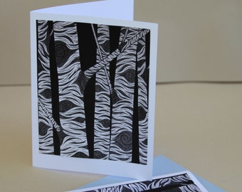 Birch Notecards, Art Aspen Tree Branches Black and White Pen and Ink Cards Stationery