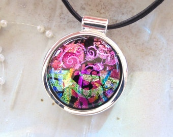 Fused Dichroic Glass Necklace, Dichroic Pendant, Glass Jewelry, Pink, Necklace Included, One of a Kind, A4