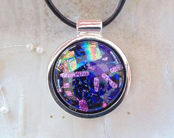 Fused Dichroic Glass Necklace, Dichroic Pendant, Glass Jewelry, Purple, Necklace Included, One of a Kind, A1