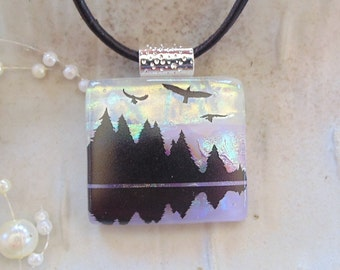 Dichroic Pendant, Fused Glass Jewelry, Necklace, Enamel, Necklace Included, One of a Kind, Trees, Eagles, A2