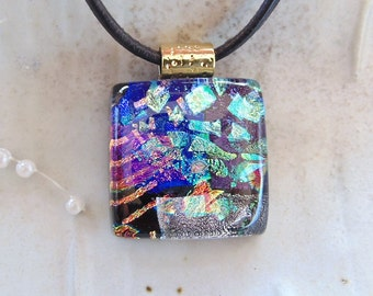 Petite Dichroic Glass Pendant, Fused Glass Jewelry, Pink, Necklace Included, One of a Kind, A1