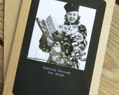 Funny Christmas Card- Dashing through the Dough 5 x 7 Kraft Card Stock with Matching Envelope Design: Xmas2