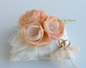 Ivory Wedding ring pillow with 3 peach/ivory flowers and leaves ---wedding ring pillow , wedding pillow, ring cushion, ready to ship