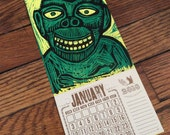 GRINNING MONKEY Calendar Small Woodcut 2017 Hand Printed Letterpress