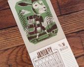 BACKPACKING HIKING BUNNY Jr Ranger Mini Calendar for 2017 Hand Printed Letterpress