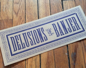 letterpress sign DELUSIONS of BANJER poster Blue Music Old Time Bluegrass Instrument Clawhammer Banjo kitchen decor gifts diner art print