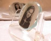 Resrved for P - Lucite and Glass Deco Frames - Small Portrait Desk Frame Vintage 1950s Modern Deco