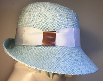 Blue STRAW HAT for Women | Resort Straw Hat | Inspited by Chanel & Dior classics | Retro-Style Classic Hat