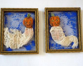 Pumpkin Ghosts in Vintage Frames - OOAK - Free USA Shipping
