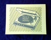 hipster holiday record player letterpress card blank recycled paper hand printed