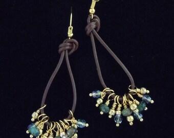 Beaded Earrings, Long Dangle Earrings, Leather Loop Earrings, Boho Earrings, Crystal Earrings