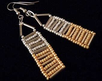 Gold and Bronze Bugle Bead Earrings, Seed Bead Earrings, Abacus Earrings, Drop Earrings, Casual Earrings