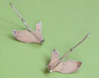 Vintage Pendulum Earrings, Whale Jewelry, Artisan Earrings, Abstract Jewelry, Sterling Jewelry, Modernist Earrings