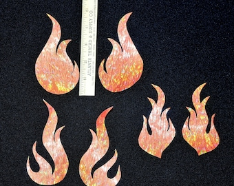 Flame fabric iron-on appliqués .. 3 pair.. orange.. crafts... t-shirts.. clothing..hats..bags..