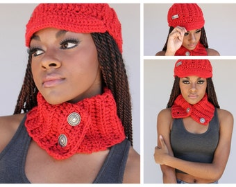 Soft Red Hat and Neckwarmer
