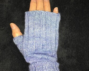 Handknitted Fingerless Gloves Wristwarmers Handwarmers - Blue -  Size M/L  (womens)