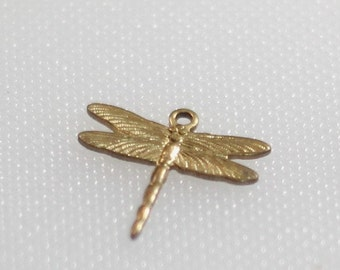 Pair of stamped brass dragonfly charms