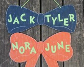 BOWTIE & BOW Twins Sign - Original Hand Painted Wood Keepsake - New Baby Sign