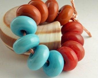 Handmade Lampwork Glass Beads, lampwork bead set, jewelry supplies, lampwork spacer bead, artist lampwork, 12 beads, Southwest
