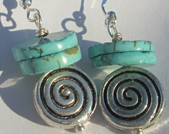rustic turquoise rounds with silver tone swirl detail beads handmade wire wrapped pierced dangle earrings unique affordable