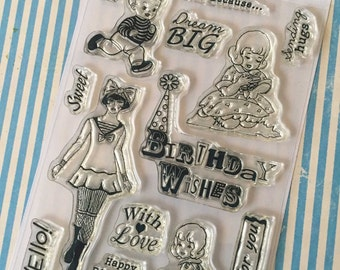 Vintage Birthday Wishes Theme 6x4 Clear Stamp Set 14 pc