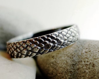 Dragon Scale ring, Sterling Silver, stacking ring, scale texture, band ring