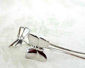 Sterling Silver Butterfly earrings, long post, Nature jewelry