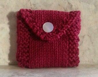 Tea Bag Tote, Tea Bag Wallet, Cotton Handknit, Burgundy, Gift under 15