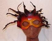 "Leather Masks for Halloween Mardi Gras Comedia Del Arte Masquerade OOAK ""SUN GOD"" Handmade by Debbie Leather"