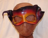 """Leather Masks for Halloween Mardi Gras Comedia Del Arte Masquerade OOAK """"FIRE WITCH"""" Handmade by Debbie Leather"""