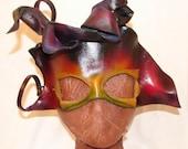 "Leather Masks for Halloween Mardi Gras Comedia Del Arte Masquerade OOAK ""FANTASM"" Handmade by Debbie Leather"