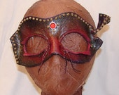 "Leather Masks for Halloween Mardi Gras Comedia Del Arte OOAK ""RED JEWEL"" Handmade by Debbie Leather"